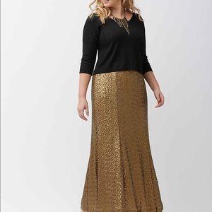 Lane Bryant Maxi Sequin Gold Skirt